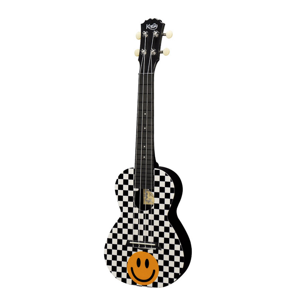 Korala PUC 30 014 Konzertukulele Yellow Smiley Checkers, Polycarbonat