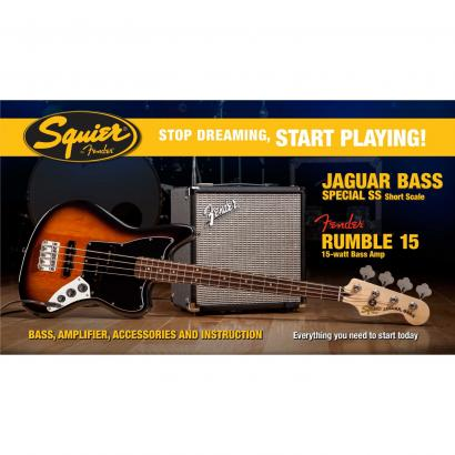 Squier Jaguar Bass Special SS Set BSB mit Rumble 15 Amp