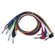 DAP FL14 coloured patch cables 30cm right/right-angled jack (6-pack)