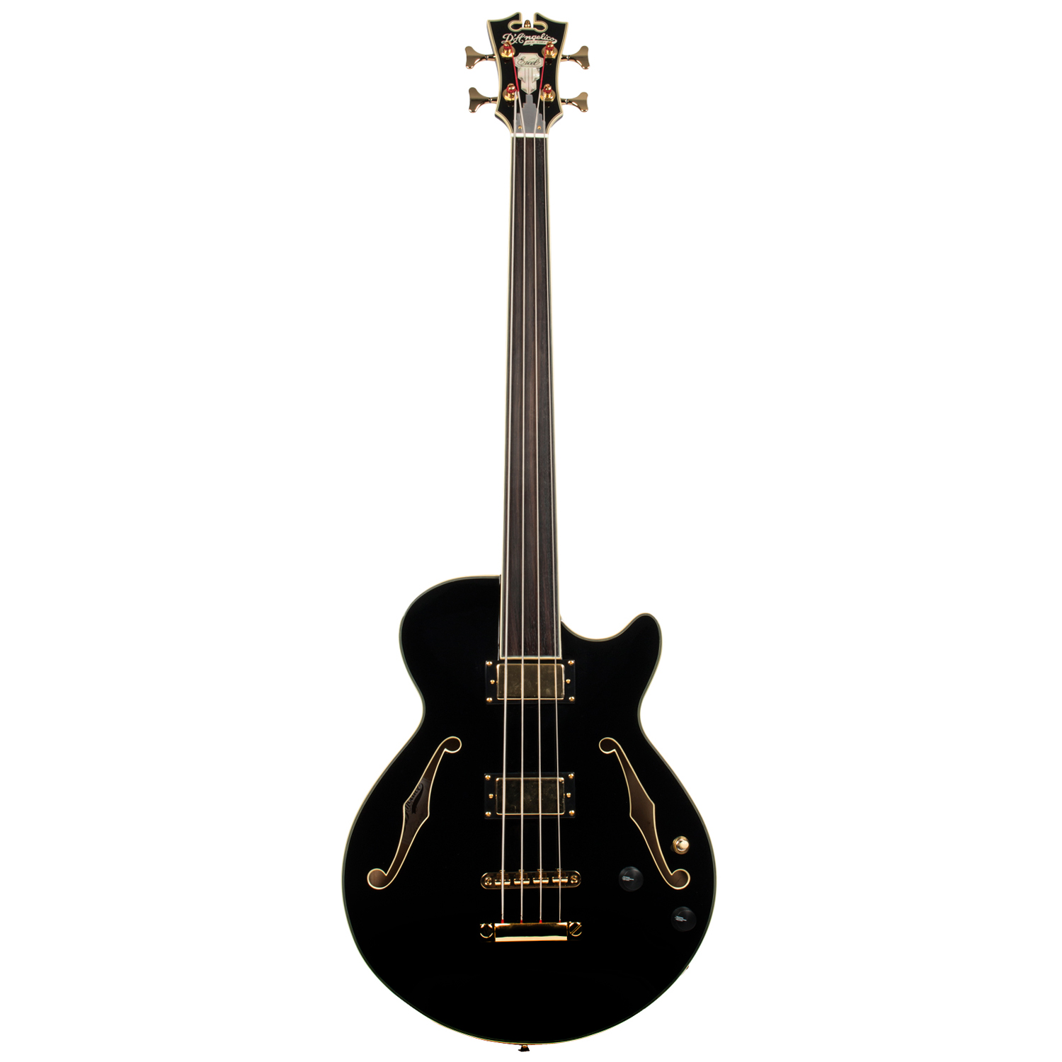 D'Angelico EX BASS FL BLK semi akustischer Bass, bundlos