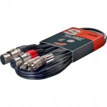 Stagg STC060CMXF 2x XLR female - 2x Mono-Klinke male Kabel, 60 cm
