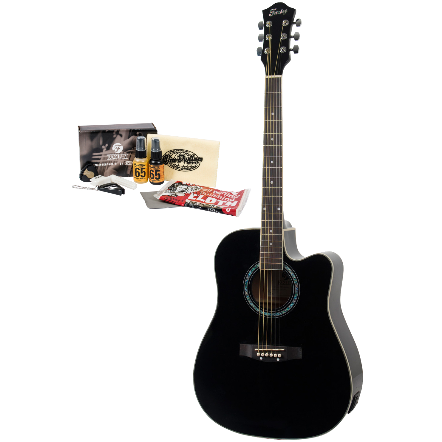 Fazley FE100CBK GAFAZ1 guitar with maintenance kit