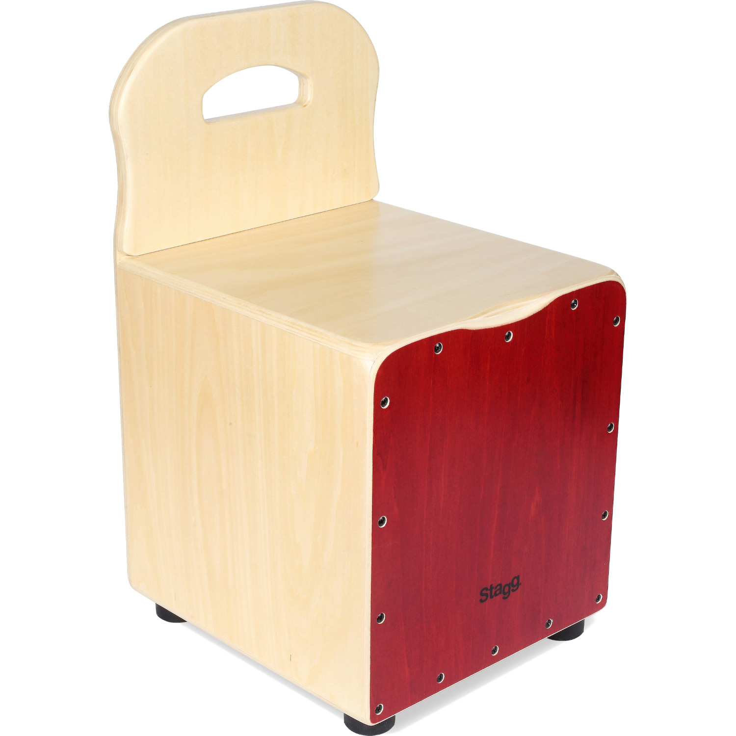 Stagg CAJ KID RD children's cajon with back support, red