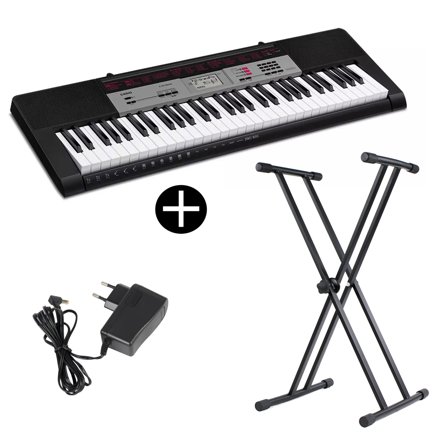 Casio CTK 1500 61 note keyboard with stand and adapter