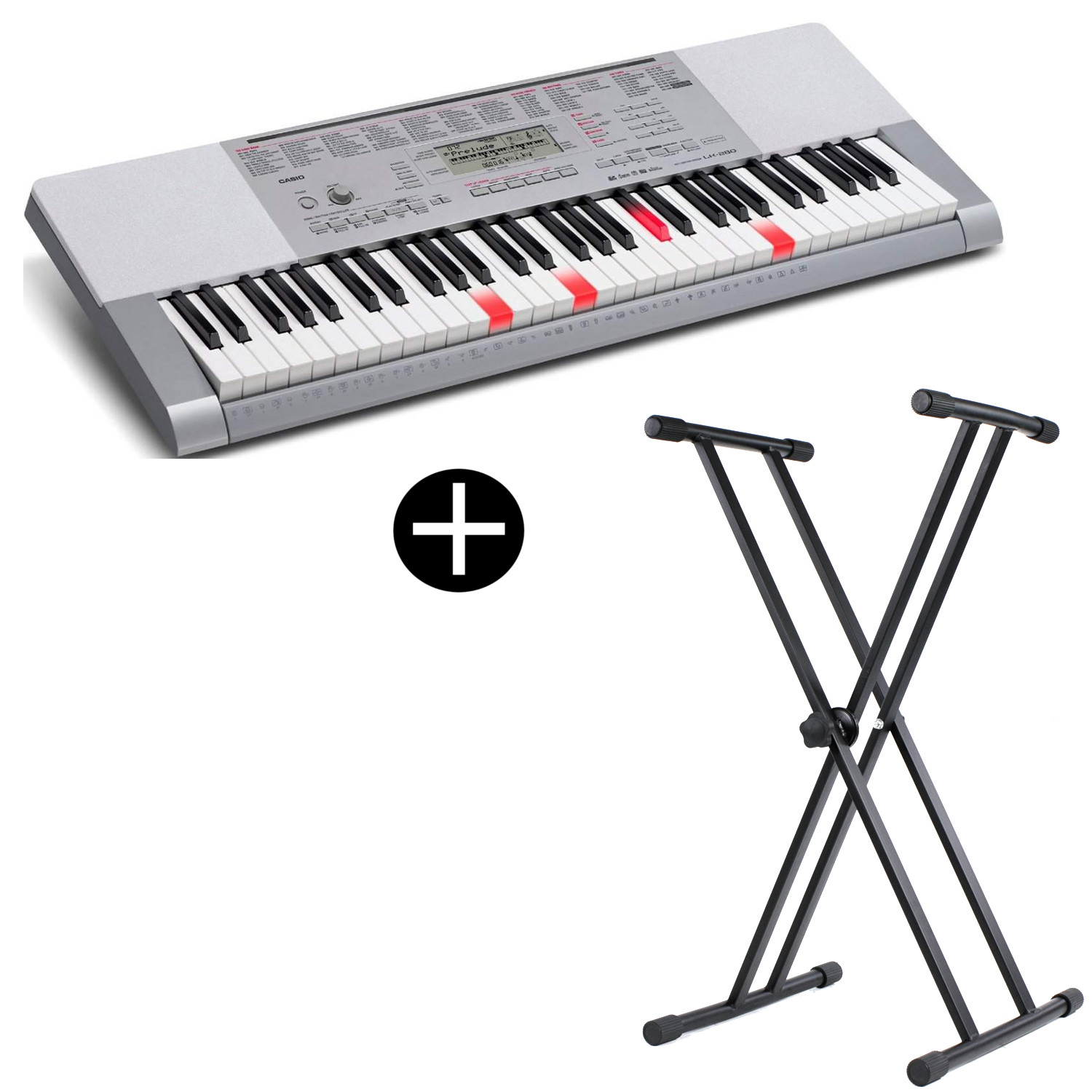 Casio LK 280 keyboard with 61 illuminated keys and stand