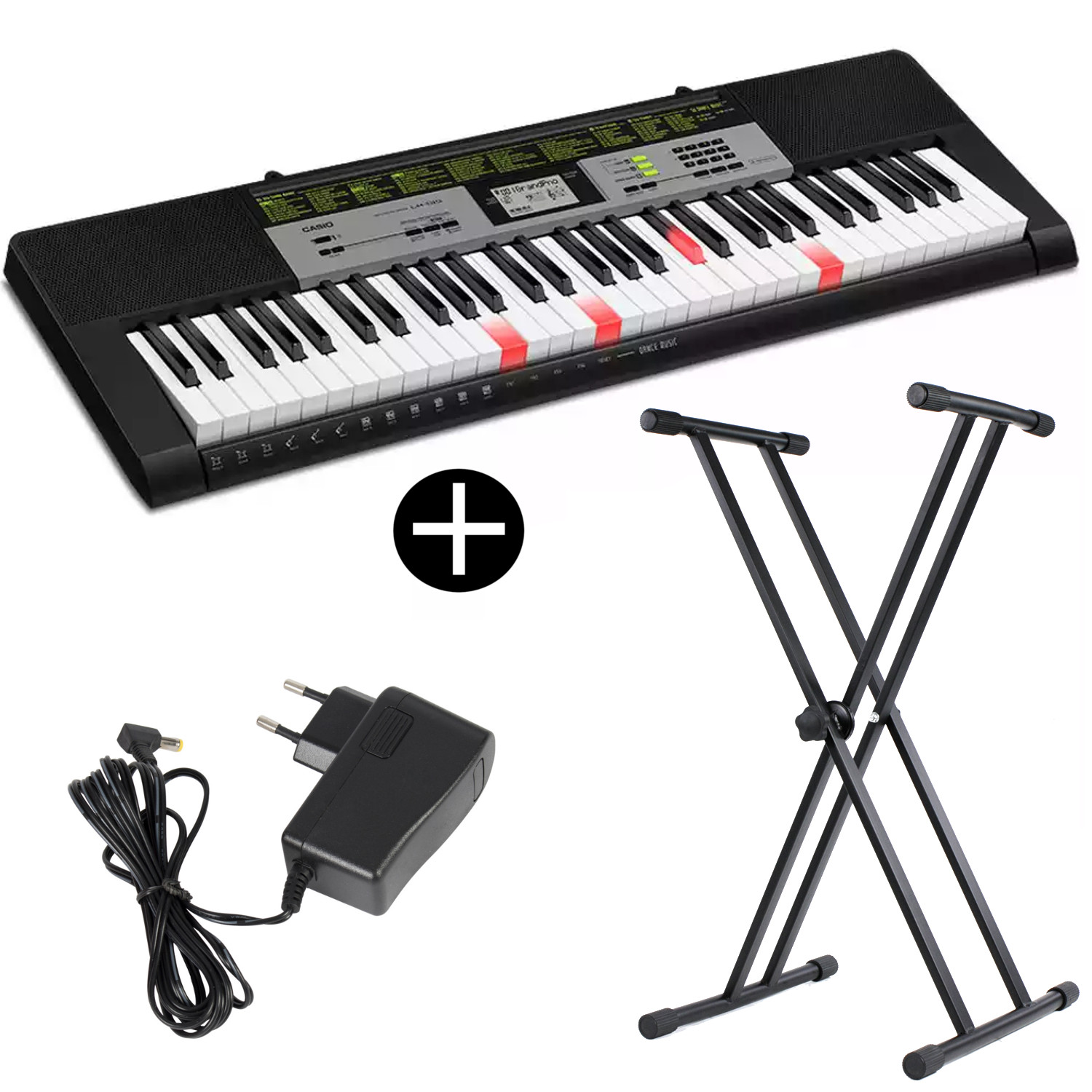 Casio LK 135 keyboard with 61 illuminated keys and stand