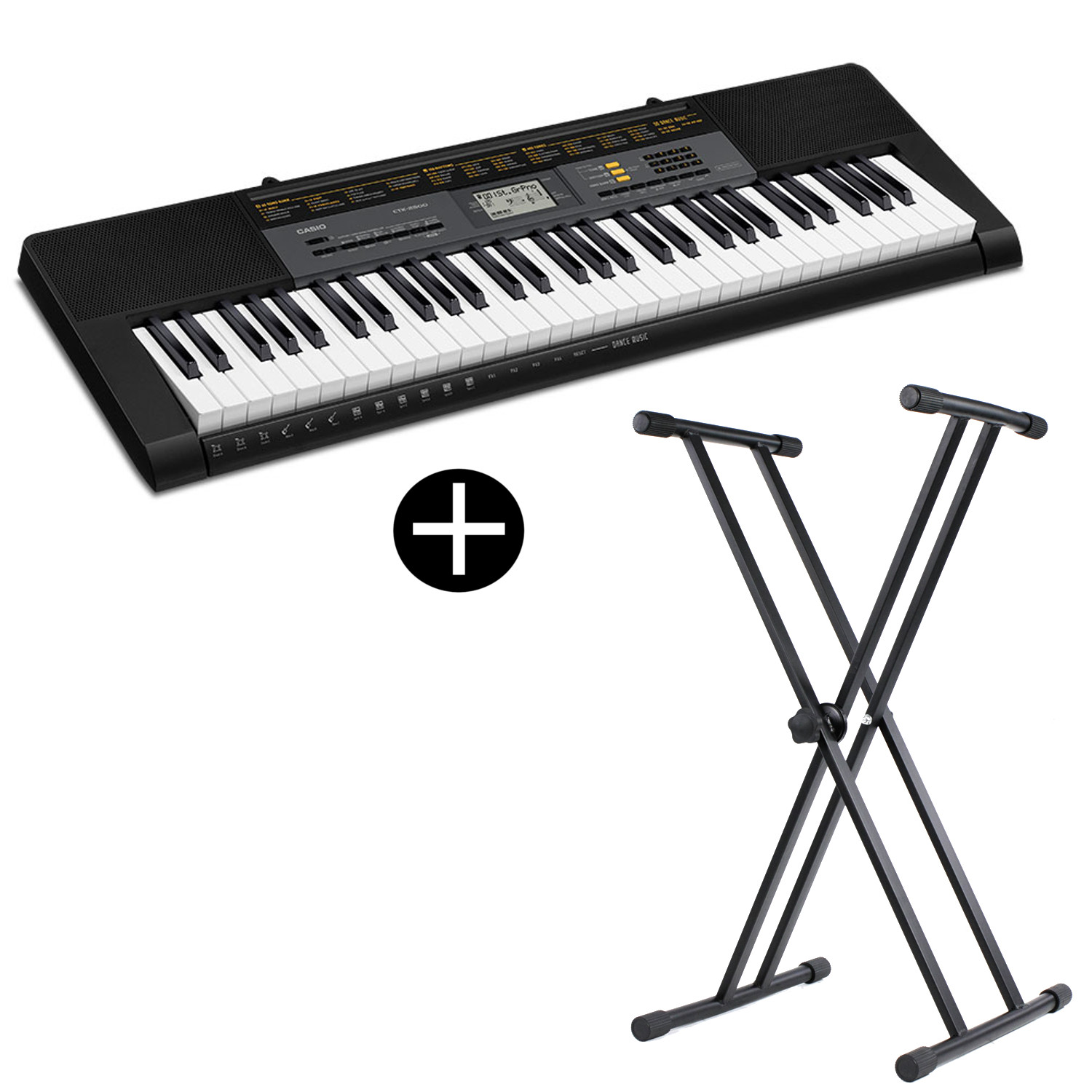 Casio CTK 2500 keyboard with 61 keys including stand