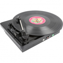 Fenton RP120 record player, black, high gloss