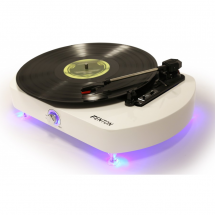 Fenton RP125 record player, white, high gloss, with LED lighting