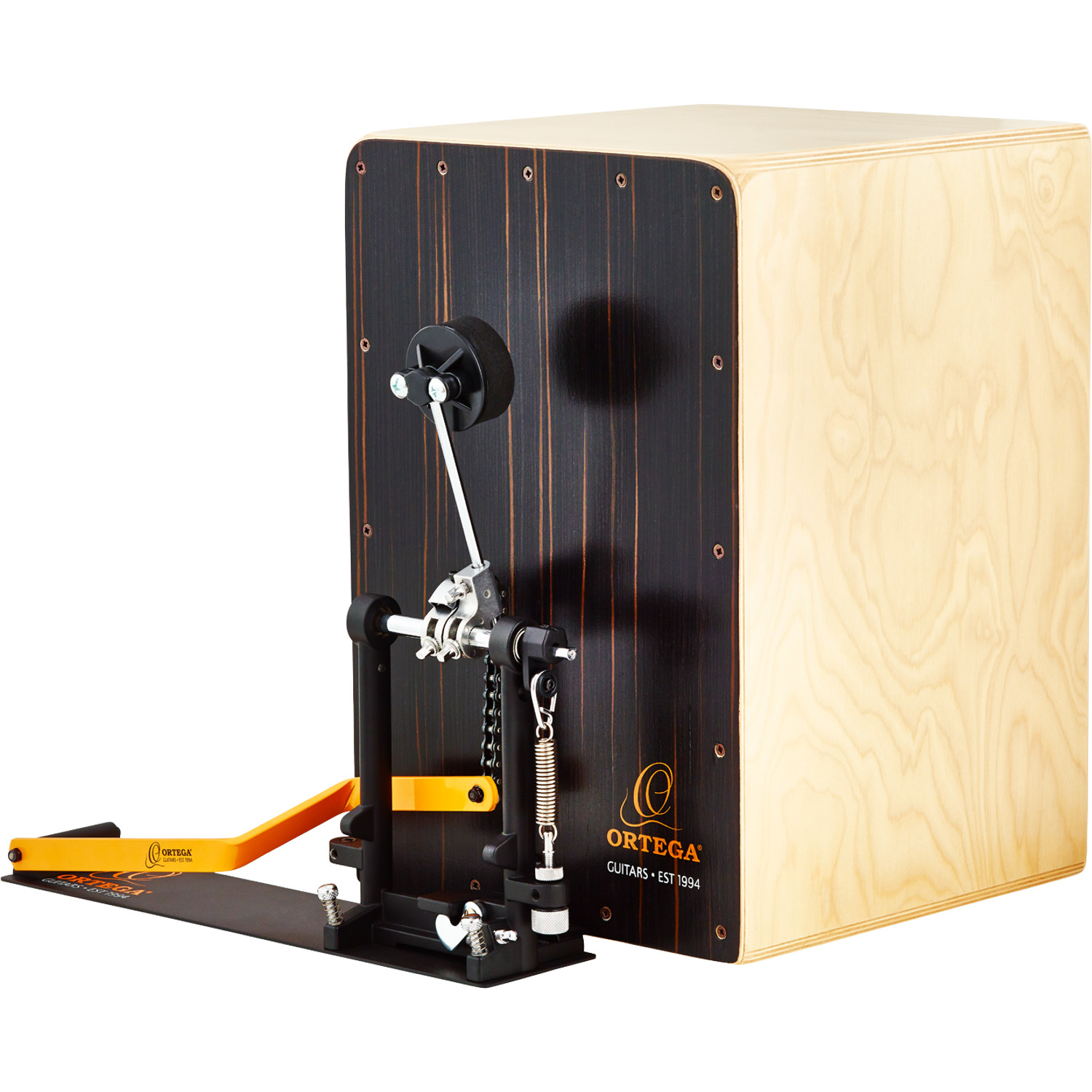 Ortega OSTBCJ BU Stomp Box Cajon bundle, right footed