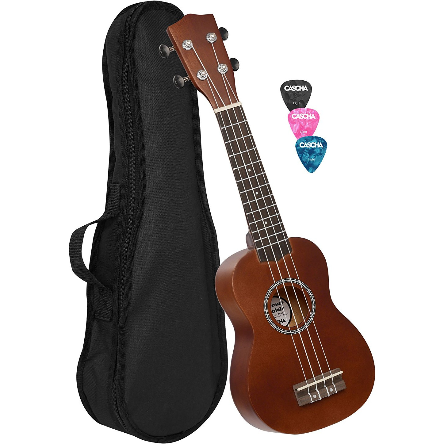 Cascha EH 3953 soprano ukulele with bag and plectrums