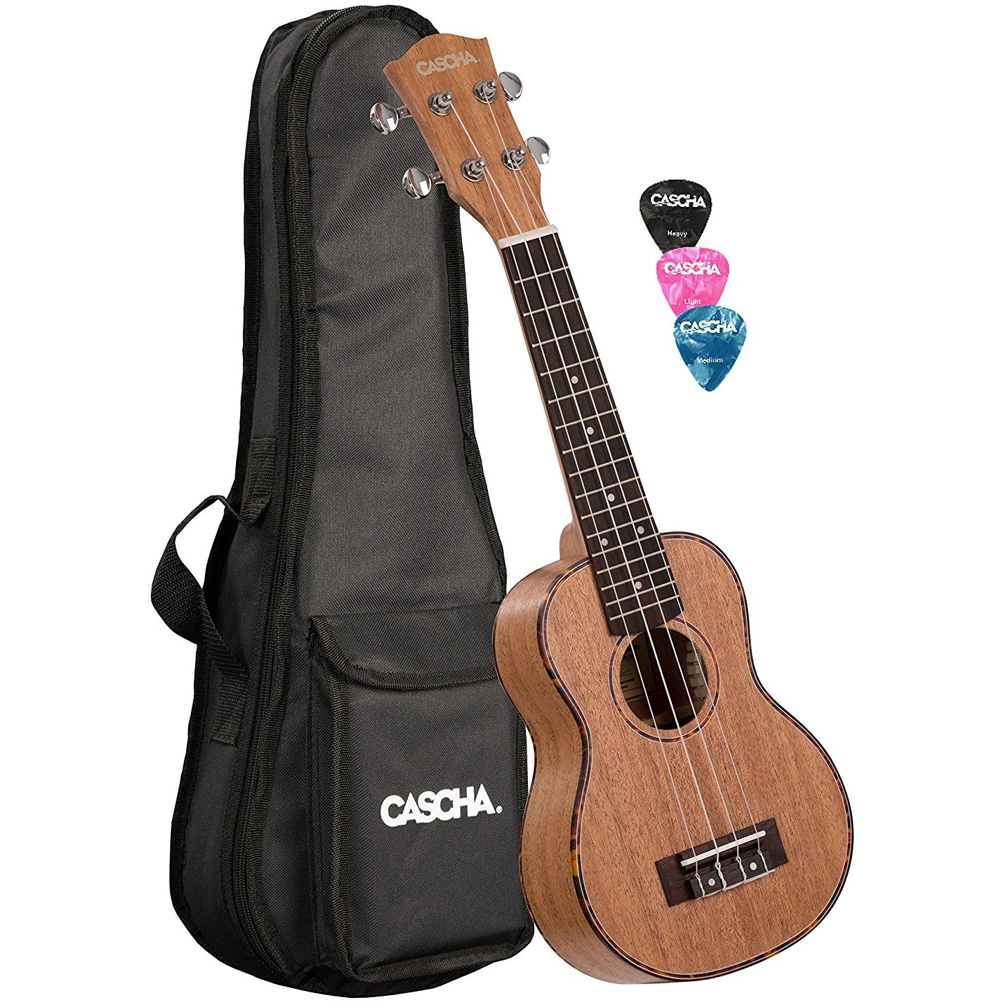 Cascha HH 2026 premium soprano ukulele with bag and plectrums