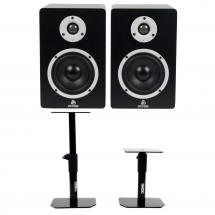 Devine MR-5A active studio monitors + stands