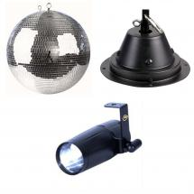 Showtec 60407 disco ball + motor + pin spotlight