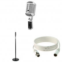 TIE Vintage Mic Bundel with retro stand and white cable