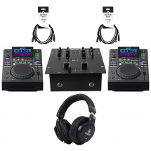 Gemini MDJ-600 USB/CD media player set + Numark mixer, headphones