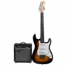 (B-Ware) Squier Strat Pack SSS Brown Sunburst E-Gitarrenset