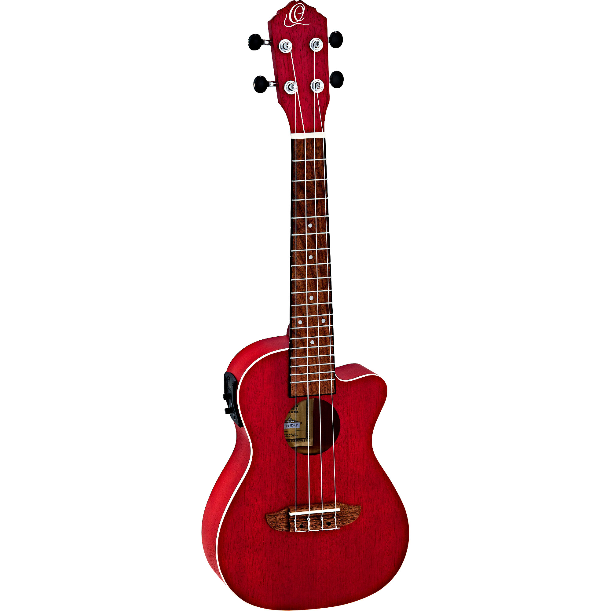 Ortega Earth Series RUFIRE CE concert ukulele, red