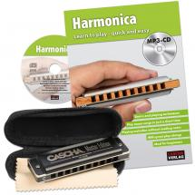 Cascha HH 1630 EN Master Edition Blues harmonica set (+ book)