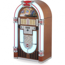 (B-Ware) Ricatech RR3100 Classic LED Jukebox Bluetooth, brown