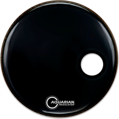 Aquarian Regulator Small Offset Black Bassdrum-Fell, 24 Zoll
