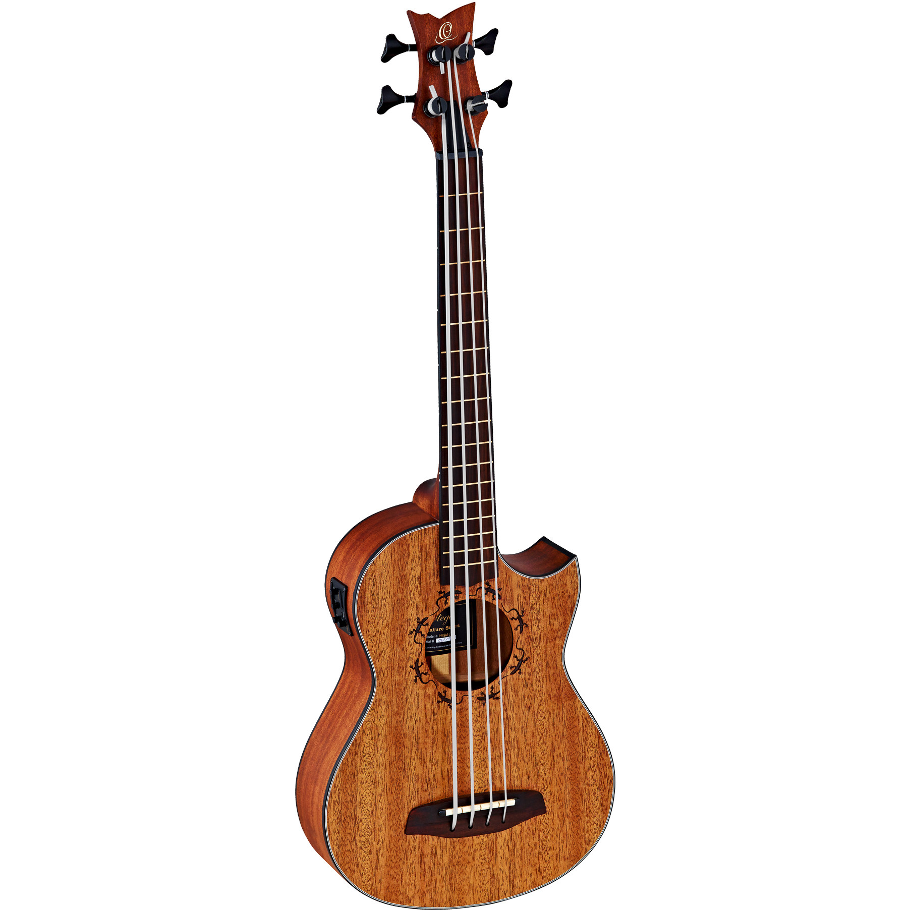Ortega Lizard Series LIZZY PRO long scale bass ukulele with bag