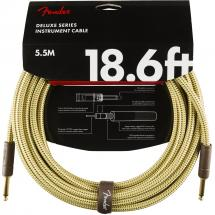 Fender Deluxe Cables instrument cable, 5.5 m, straight, yellow tweed