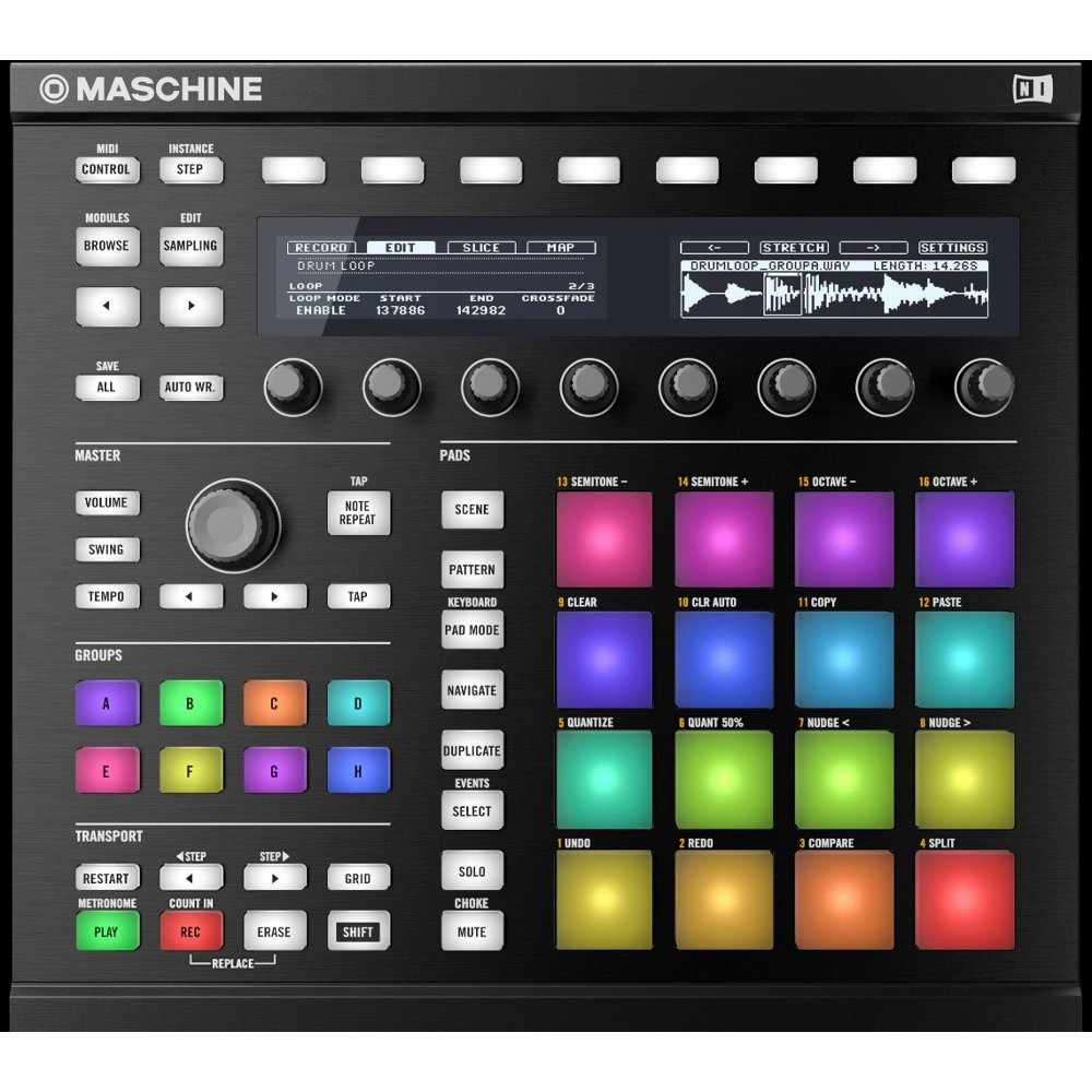 native instruments maschine mk2 controller schwarz 2x adam f5 monitore kaufen bax shop. Black Bedroom Furniture Sets. Home Design Ideas